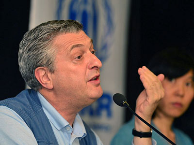 Filippo Grandi, the United Nations high commissioner for refugees, speaks at a press conference in Dhaka, Bangladesh, July 10, 2017.