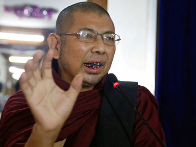 Myanmar monk Parmaukkha talks to the media at a press conference about a scuffle between Buddhist nationalists and Muslims in Yangon, May 11, 2017.