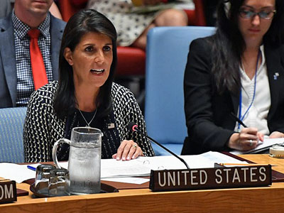 U.S. Ambassador to the United Nations Nikki Haley speaks at a UN Security Council meeting to discuss recent violence in Myanmar's northern Rakhine state at the United Nations in New York, Sept. 28, 2017.