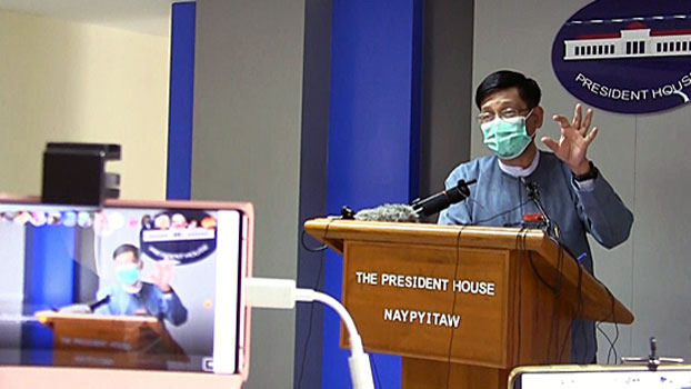 Myanmar government spokesman Zaw Htay speaks to reporters during a press conference in Naypyidaw, Sept. 4, 2020.