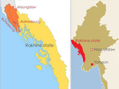 The map shows Maungdaw, Buthidaung, and Rathedaung townships in western Myanmar's Rakhine state. Credit: RFA graphic