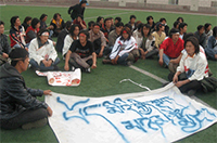 Tibetan students at Lanzhou's Northwest National University staged a peaceful demonstration on the university ground. Eyewitness photo.
