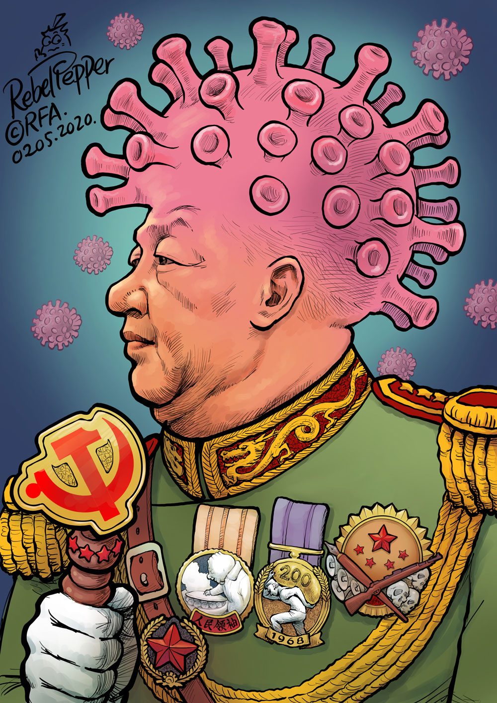 China's 'Chairman of Everything' becomes the king of viruses. Cartoon by Rebel Pepper