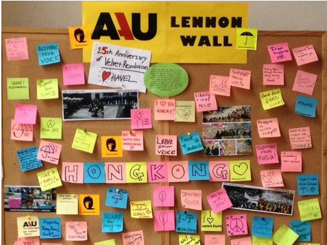 Thank you for the support @AAUPrague! Keep up the spirit! #lennonwall #prague #UmbrellaMovement via @LennonWalls – Nov. 14