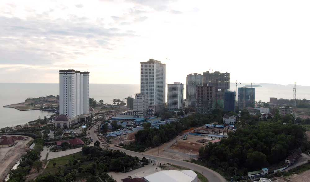 Chinese hotel and casino construction at sunset. Sihanoukville now has more than 100 casinos. Photo: RFA