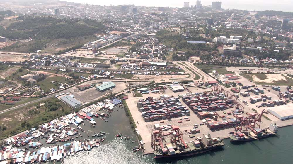 Sihanoukville port, which has been developed with investment from China and Japan. Sihanoukville is now home to 39 special economic zones attracting tens of millions of dollars in mainly Chinese investment. Photo: RFA