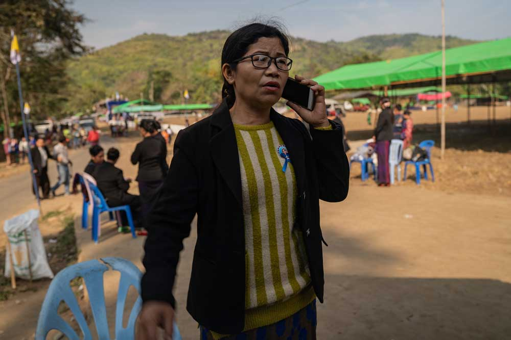 With just a mobile phone and community support, local anti-dam activist Daw Ja Khom and her colleagues have gained a voice in the future of their community. Photo: RFA