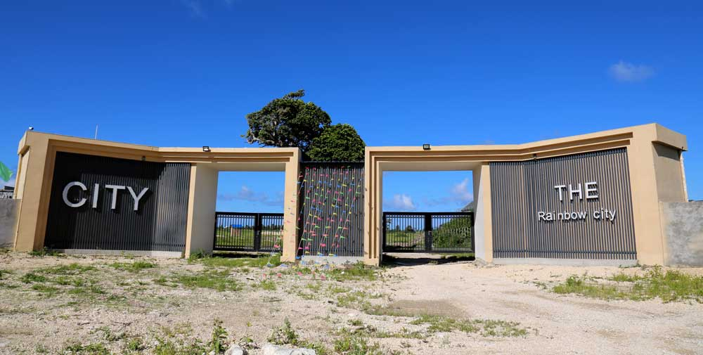 Rainbow City, Tamanu, Efate Island Vanuatu. The gates at the site of the largest construction site in Vanuatu. Supported by private, Chinese-backed investment, it is the biggest residential development in Vanuatu. Photo: RFA