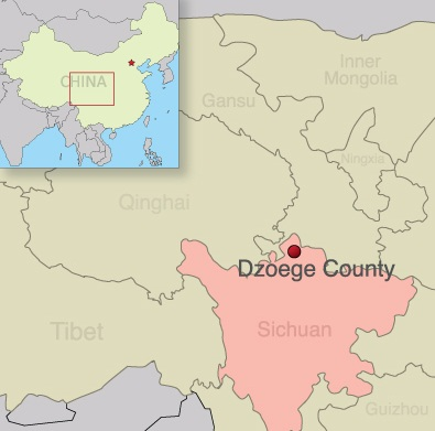 Map of Dzoege county in Ngaba prefecture, Sichuan