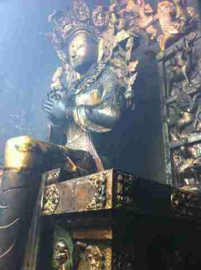 A damaged statue in the main hall of the monastery. Credit: RFA listener