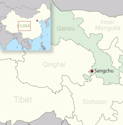 Map of Sangchu in Gansu