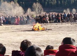 Pema Dorje self-immolates in front of the Shitsang Monastery in Kanlho Tibetan Autonomous Prefecture, Dec. 8, 2012.