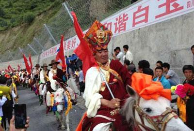 Horsemen in traditional costume parade in Palyul, July 28, 2014. Credit: RFA listener