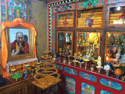 The Dalai Lama's photo is displayed on a shrine, Feb. 19, 2015.