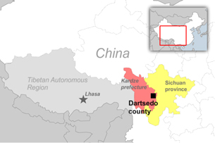 The earthquake struck in Dartsedo county of Kardze prefecture in Sichuan province. (RFA)