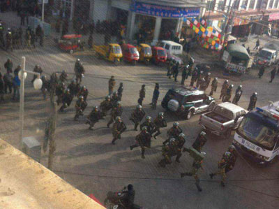 Security forces are deployed in Ngaba following Trinle's protest, Dec. 26, 2014. Credit: RFA listener