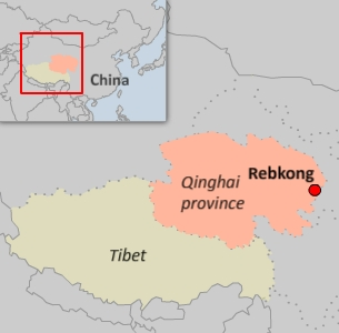 The protests were held in Rebkong, in China's western Qinghai province. Credit: RFA