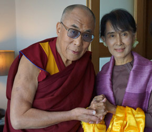 The Dalai Lama meets with Aung San Suu Kyi in London, England, June 19, 2012.