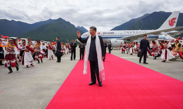 China's President Xi Jinping arrives in Tibet, July 21, 2021.