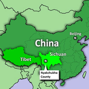 A map showing Nyakchukha (in Chinese: Yajiang) county in Sichuan province. RFA graphic