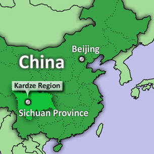 A map shows the location of Kardze Region, in China's Sichuan province.