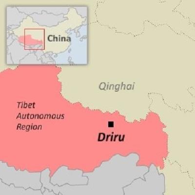 A map of Driru (Biru) county in Nagchu (Naqu) prefecture in Tibet. Image credit: RFA.