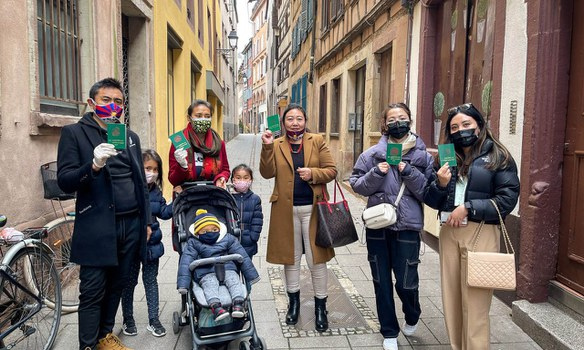 Tibetans go to the polls in Strasbourg, France, April 11, 2021. Photo sent to RFA