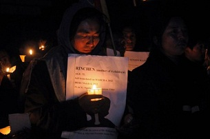 Tibetans-in-exile mourn the self-immolation deaths of two Tibetan women in McLeod Ganj, India, on March 5, 2012.