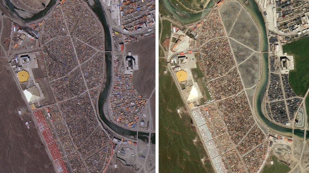 Satellite images of the Yarchen Gar Buddhist center on April 3, 2018 (L) and Aug. 24, 2019.