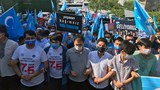 Leaders of Uyghur organizations, members of the Uyghur diaspora, and their Turkish supporters hold a protest marking a violent crackdown on Uyghurs by Chinese authorities 12 years ago, in front of Chinese Consulate in Istanbul, July 5, 2021.