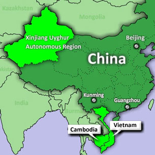 A map showing China's Xinjiang Uyghur Autonomous Region and the southeast Asian nations of Cambodia and Vietnam.