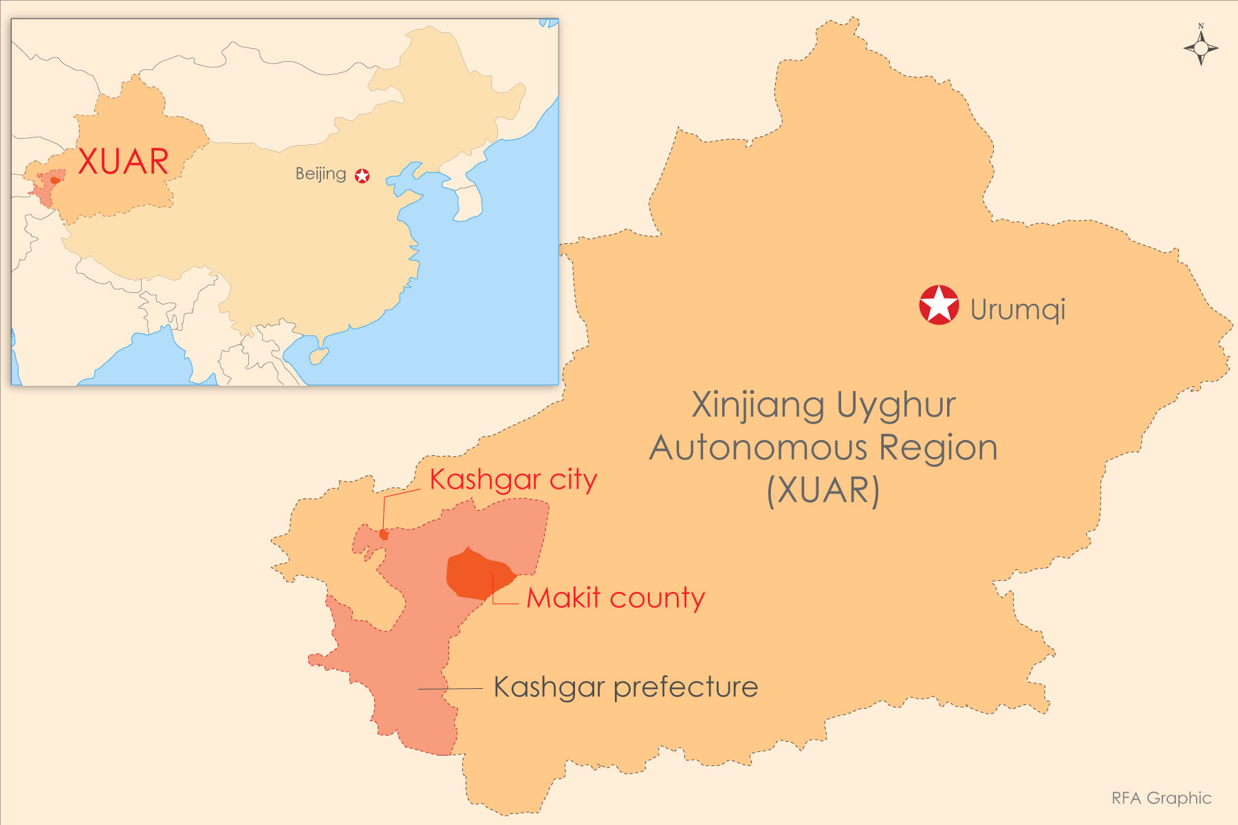 A map shows Kashgar city and neighboring Makit county in northwest China's Xinjiang Uyghur Autonomous Region (XUAR).
