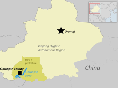 The map shows Qaraqash county in Xinjiang's Hotan prefecture. Credit: RFA graphic