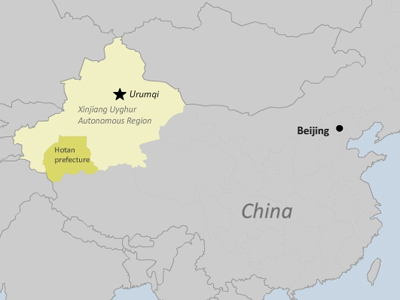 The map shows Hotan prefecture in northwestern China's Xinjiang region. Credit: RFA graphic