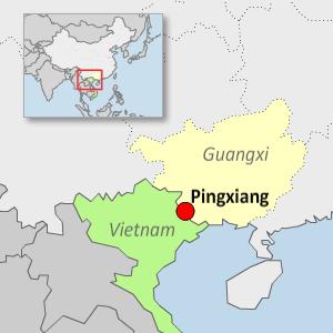 A map showing Pingxiang in China's Guangxi Zhuang Autonomous Region. (RFA)
