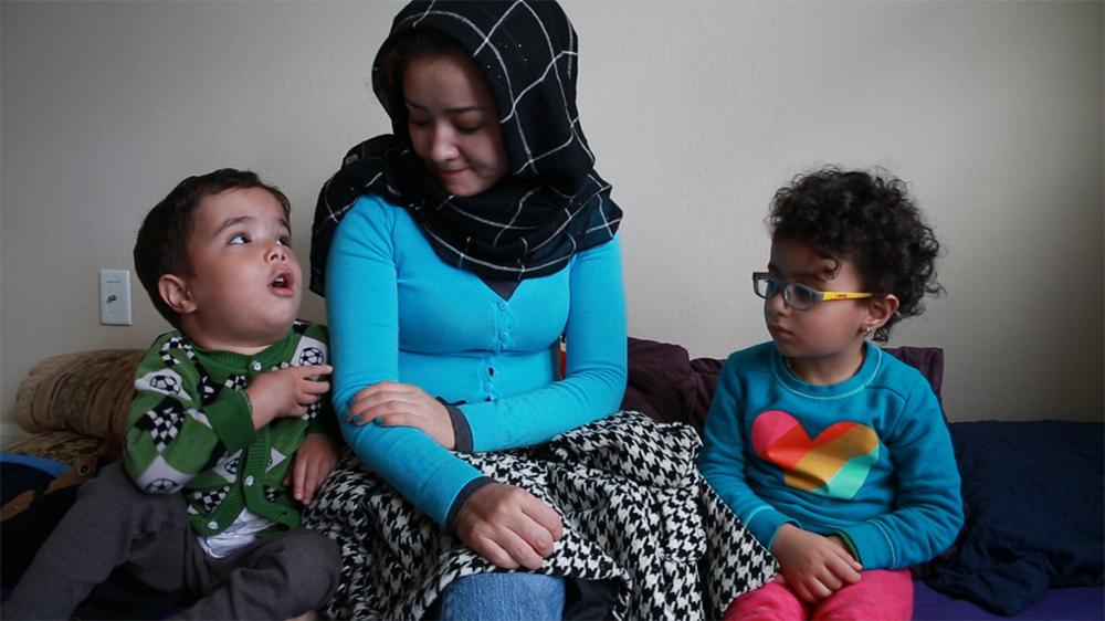 Mihrigul Tursun and her children in Virginia, Oct. 27, 2018. Credit: RFA