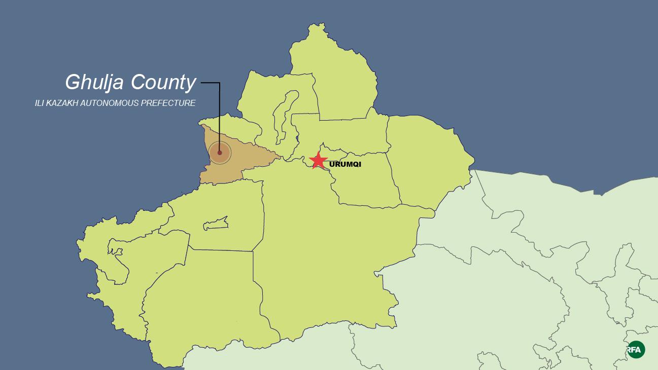 A map shows Ghulja county in the XUAR's Ili Kazakh Autonomous Prefecture.