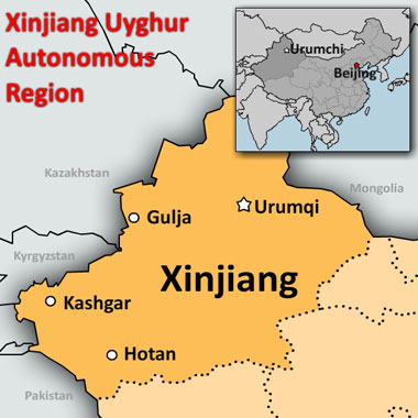 A map of China's northwestern Xinjiang Uyghur Autonomous Region. Credit: RFA