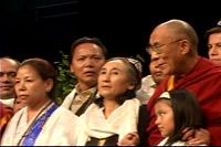 The Dalai Lama and Rebiya Kadeer before an audience of 16,000 at the MCI Center in Washington, DC. Photo: RFA