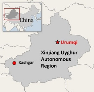 Kashgar is located in China's far western Xinjiang Uyghur Autonomous Region, which has its capital at Urumqi.