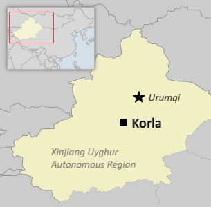 A map of Korla, southwest of the capital Urumqi, in China's far northwestern Xinjiang Uyghur Autonomous Region.