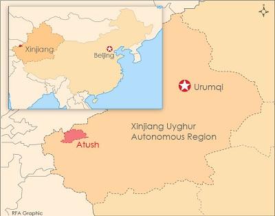 A map of Atush in Xinjiang.