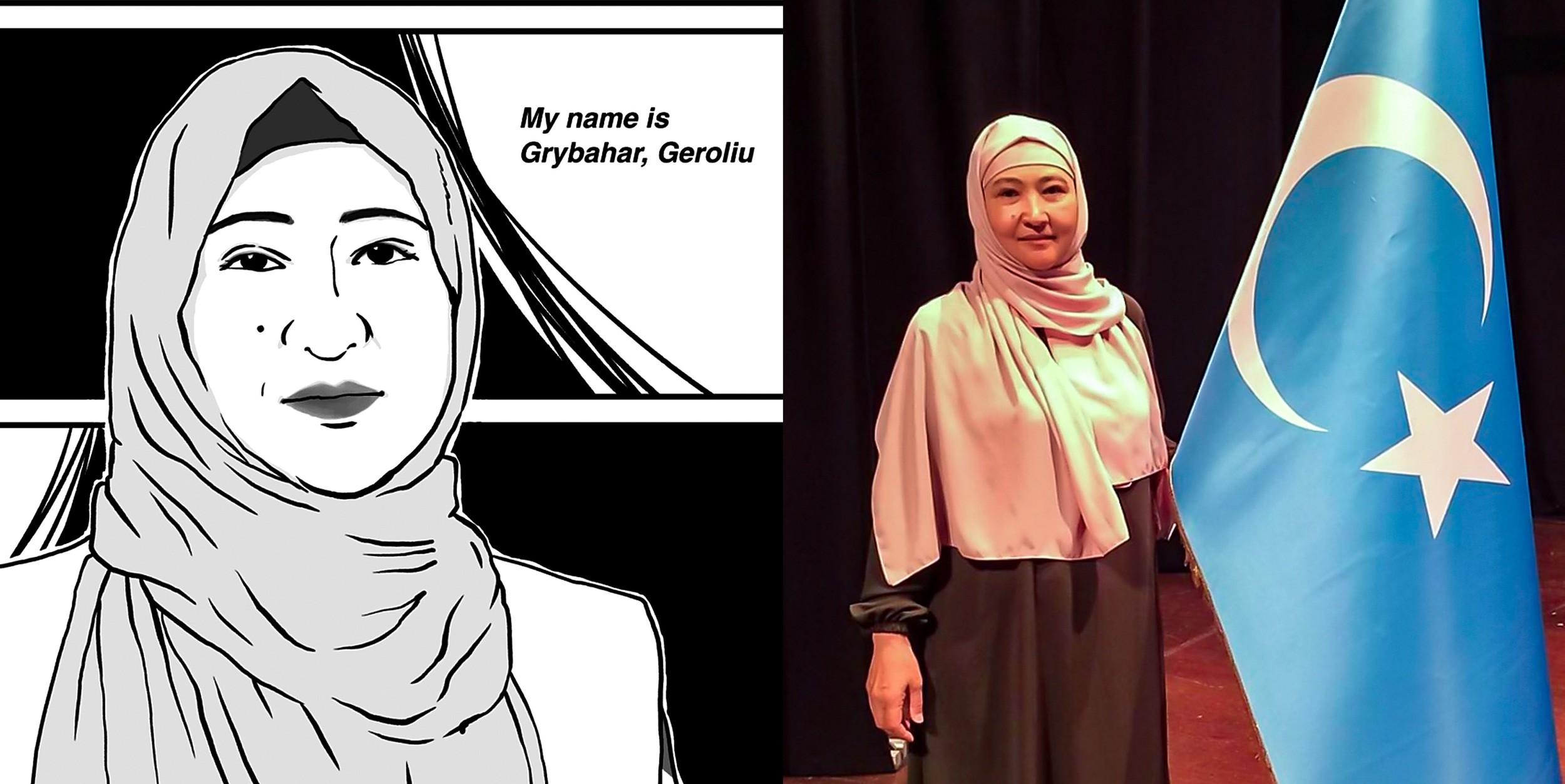 Gulbahar Jelilova in Tomomi Shimizu's manga and in an undated photo.