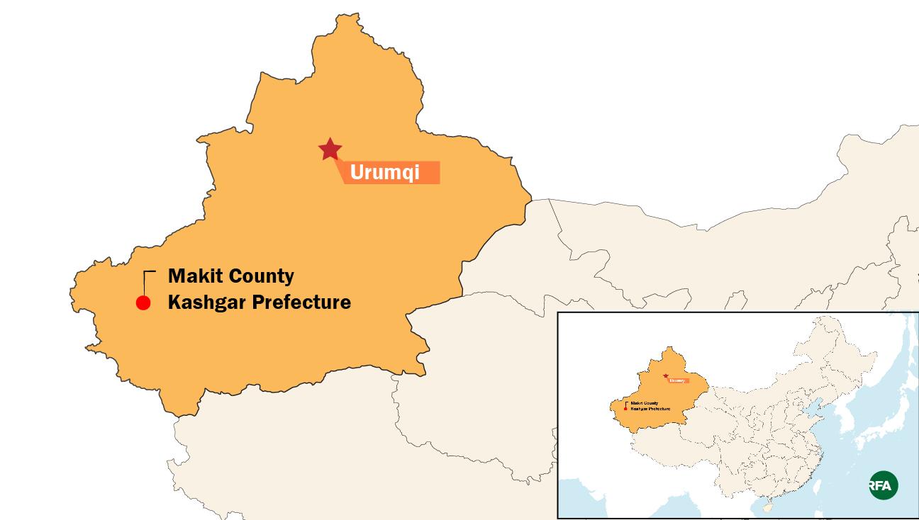 A map shows Makit county in Xinjiang's Kashgar prefecture.