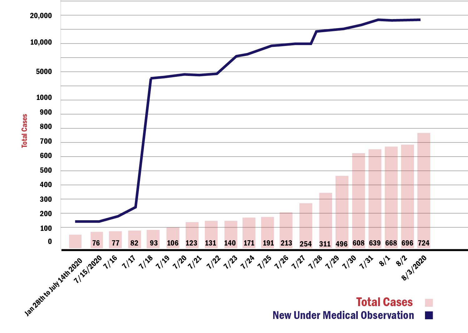 Coronavirus cases in the Xinjiang Uyghur Autonomous Region through Aug. 3, 2020.