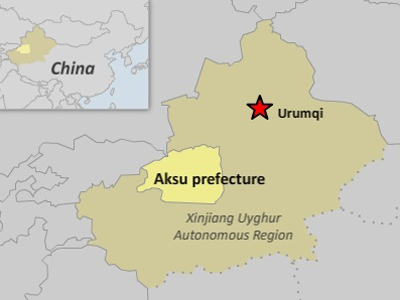 The map shows Aksu prefecture in northwestern China's Xinjiang region. Credit: RFA graphic