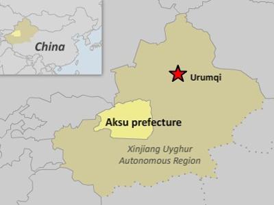 The map shows Aksu prefecture in northwestern China's Xinjiang region.