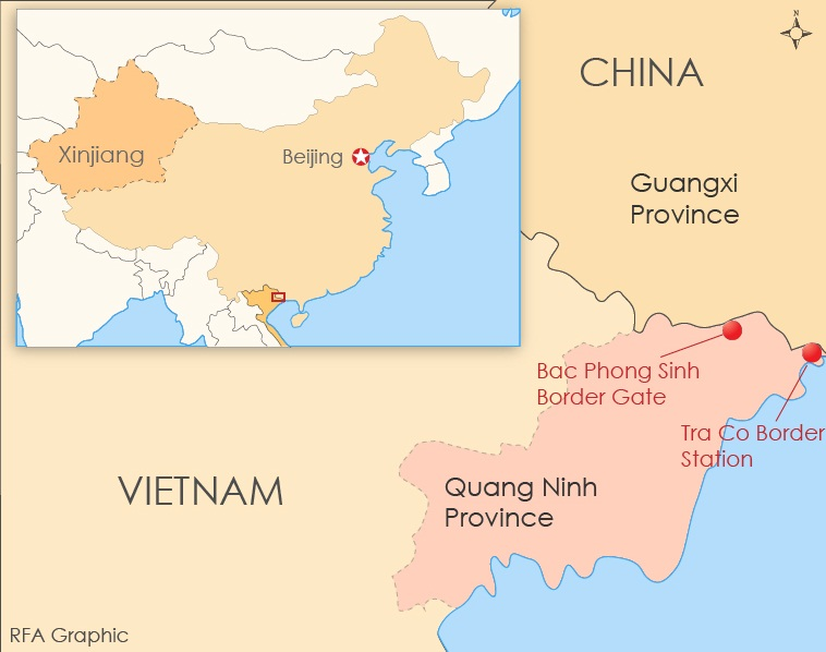 Second Group Of Chinese Nationals Detained In Vietnam - Map of china and vietnam