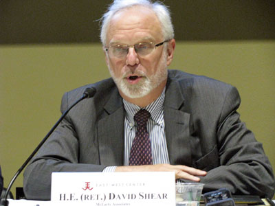 David Shear, senior advisor on Asia-Pacific and Southeast Asia at McLarty Associates, discusses US security and defense policy in Southeast Asia, in Washington, Nov. 8, 2017.