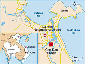 The map shows Con Dau parish located just south of the Danang in central Vietnam.